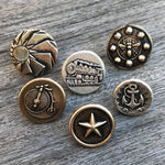 SUNLIGHT Antique Button Lapel or Hat Pin - SILVER or BRONZE