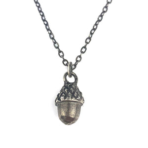 Acorn Vintage Drop Button Necklace - SILVER