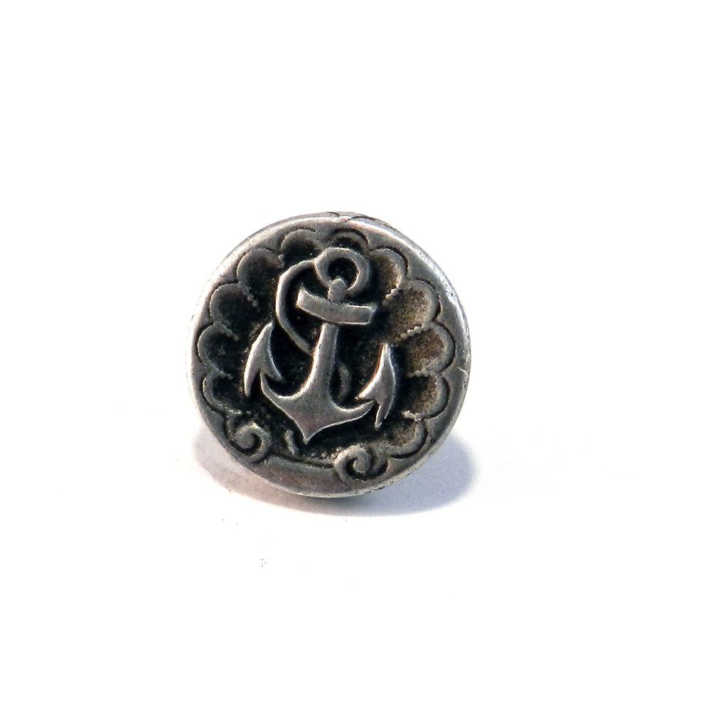 SHIPS ANCHOR Antique Button Lapel or Hat Pin - SILVER or BRONZE