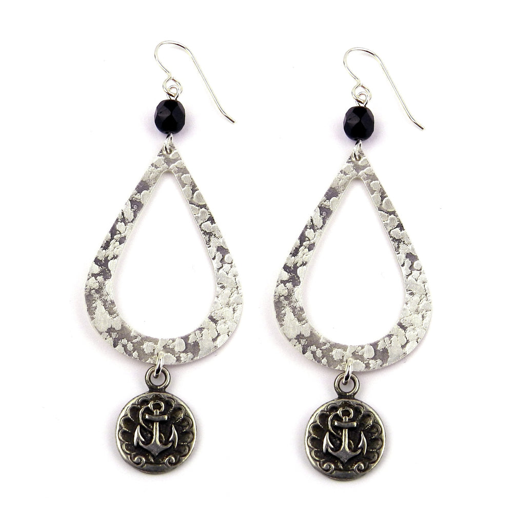 ANCHOR Teardrop Earrings - SILVER