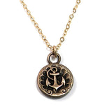 SHIPS ANCHOR Vintage Button Classic Necklace - GOLD