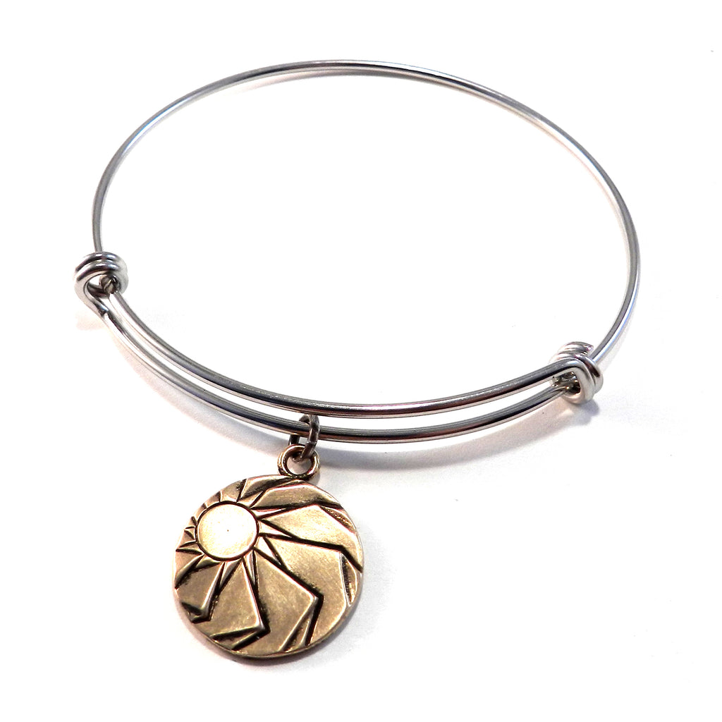 ANGLE OF REPOSE Antique Button Bangle Charm Bracelet - MIXED METAL