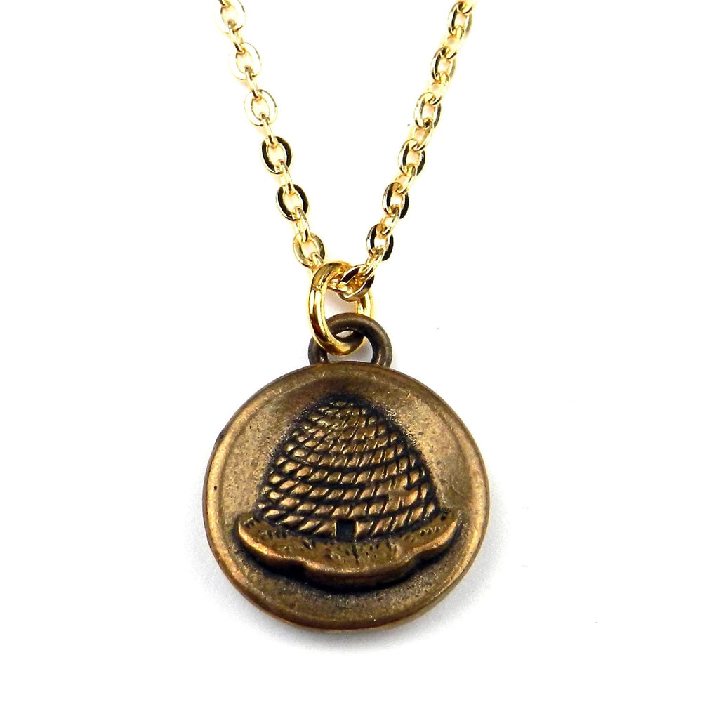 BEEHIVE Vintage Button Necklace - GOLD