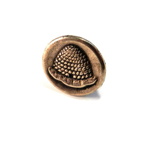 BEEHIVE Antique Button Lapel Pin/Hat Pin - SILVER or BRONZE