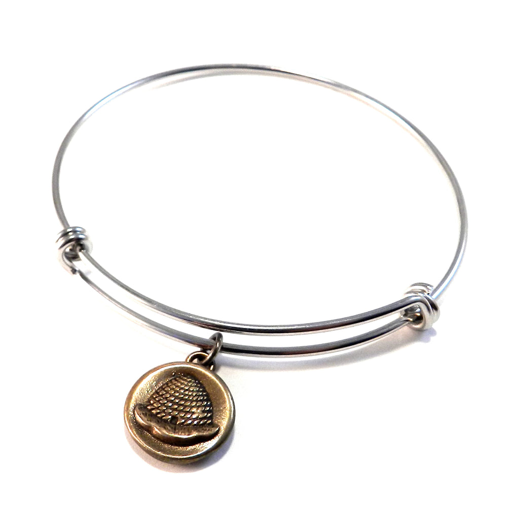 BEEHIVE Antique Button Bangle Charm Bracelet - MIXED METAL