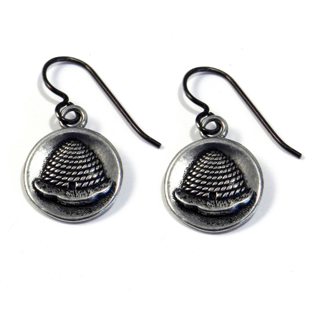 BEEHIVE Antique Button Earrings - Silver