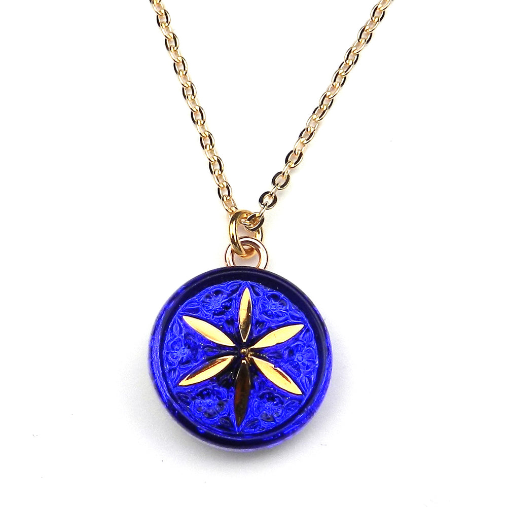 BLUE STAR Petite Vintage Button Necklace - GOLD