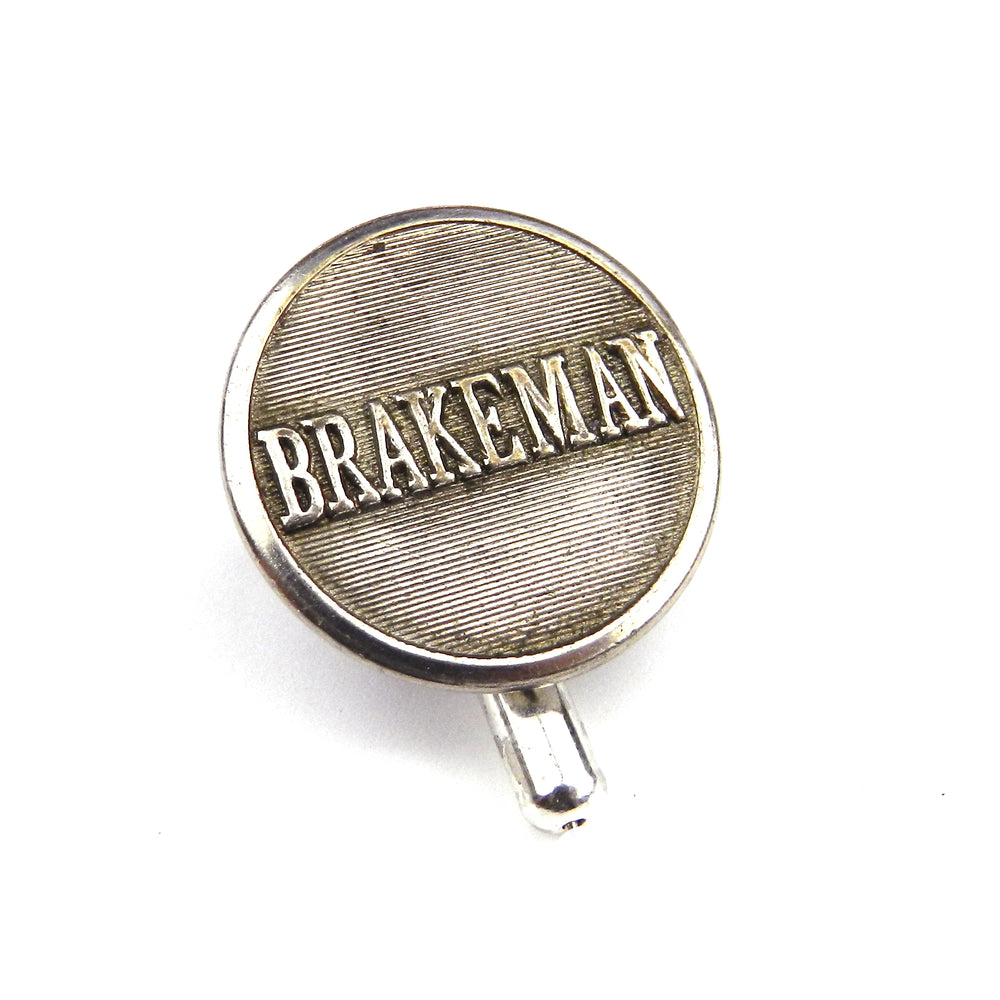 Brakeman Vintage Railroad Button Hat Pin / Lapel Pin - Silver Stripe
