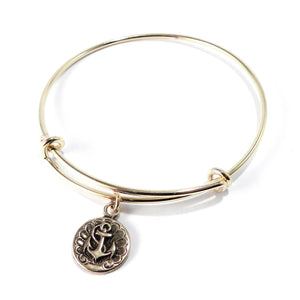 SHIPS ANCHOR Antique Button Bangle Charm Bracelet - GOLD/BRONZE