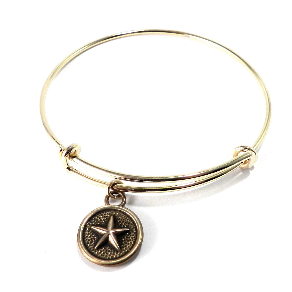 STAR Antique Button Bangle Charm Bracelet - GOLD/BRONZE