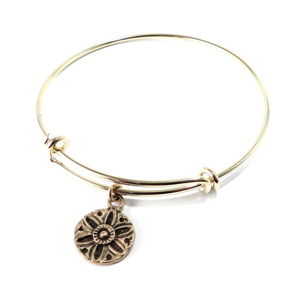 SUNLIGHT Antique Button Bangle Charm Bracelet - GOLD/BRONZE