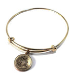 VINTAGE BICYCLE Antique Button Bangle Charm Bracelet - GOLD/BRONZE