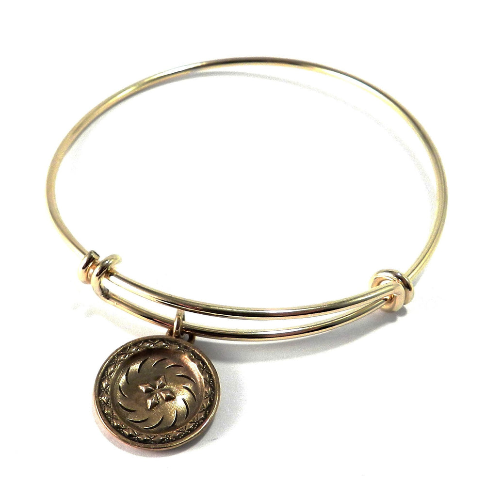 FOUR DIRECTIONS Antique Button Bangle Charm Bracelet - GOLD/BRONZE