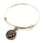 HARVEST GRAPE Antique Button Bangle Charm Bracelet - GOLD/BRONZE