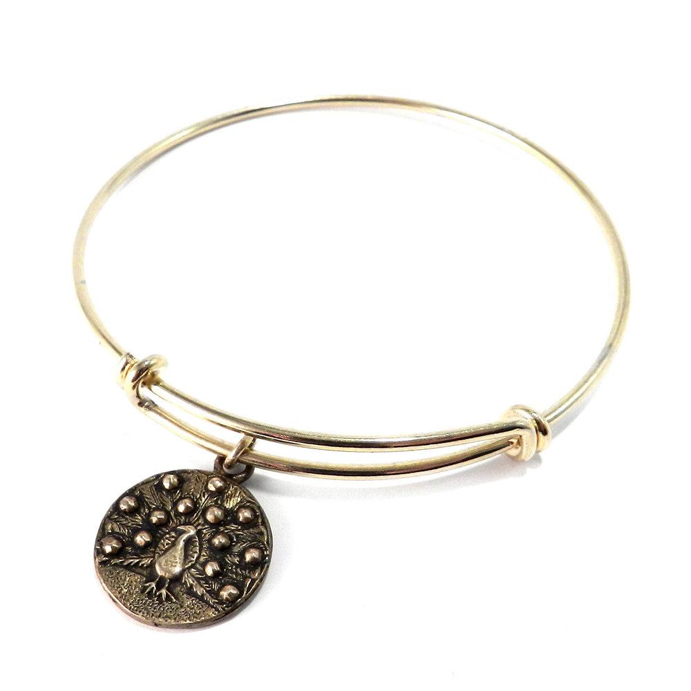 PEACOCK Antique Button Bangle Charm Bracelet - GOLD/BRONZE