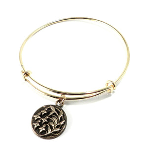 SNOWDROP Antique Button Bangle Charm Bracelet - GOLD/BRONZE