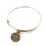 STEAM TRAIN Antique Button Bangle Charm Bracelet - GOLD/BRONZE