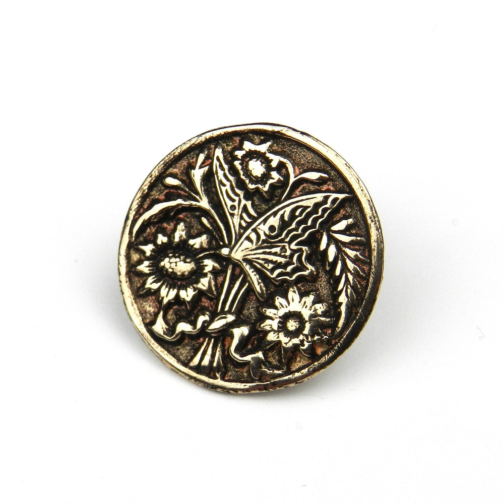 BUTTERFLY Antique Button Lapel or Hat Pin - SILVER or GOLD