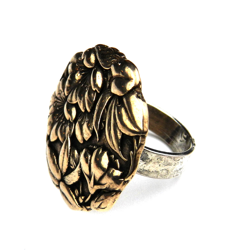 CAMELLIA Meiji Antique Button Ring - Mixed Metal