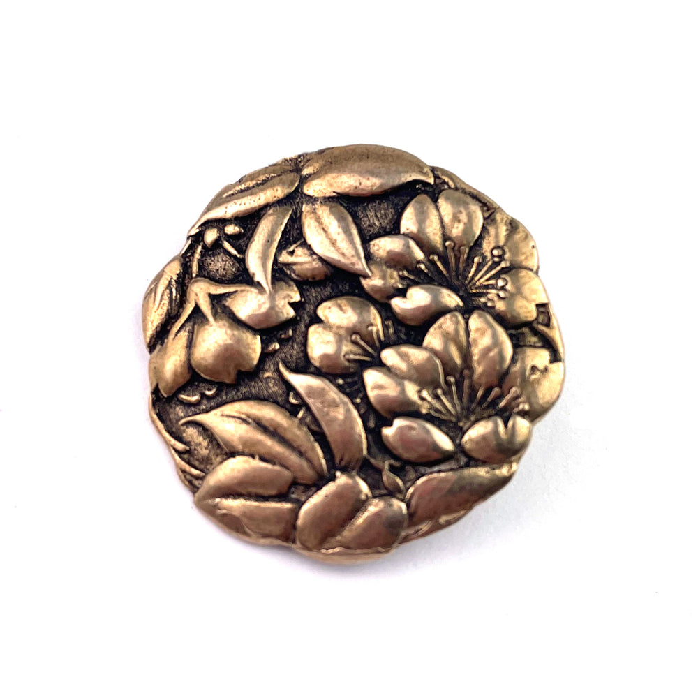 CAMELLIA Antique Button Lapel or Hat Pin - SILVER or BRONZE