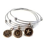 CELESTIAL Trilogy Antique Button Bangle Charm Bracelet SET - MIXED METAL
