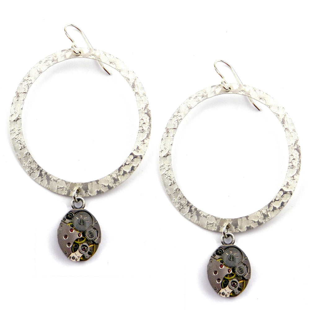CLOCKWORK Halo Earrings - SILVER