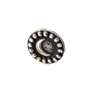 CRESCENT MOON Antique Button Lapel or Hat Pin - SILVER or BRONZE