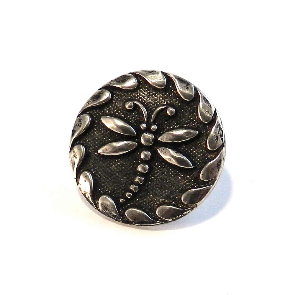 DRAGONFLY Antique Button Lapel or Hat Pin - SILVER or BRONZE