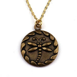DRAGONFLY Antique Button Necklace - GOLD