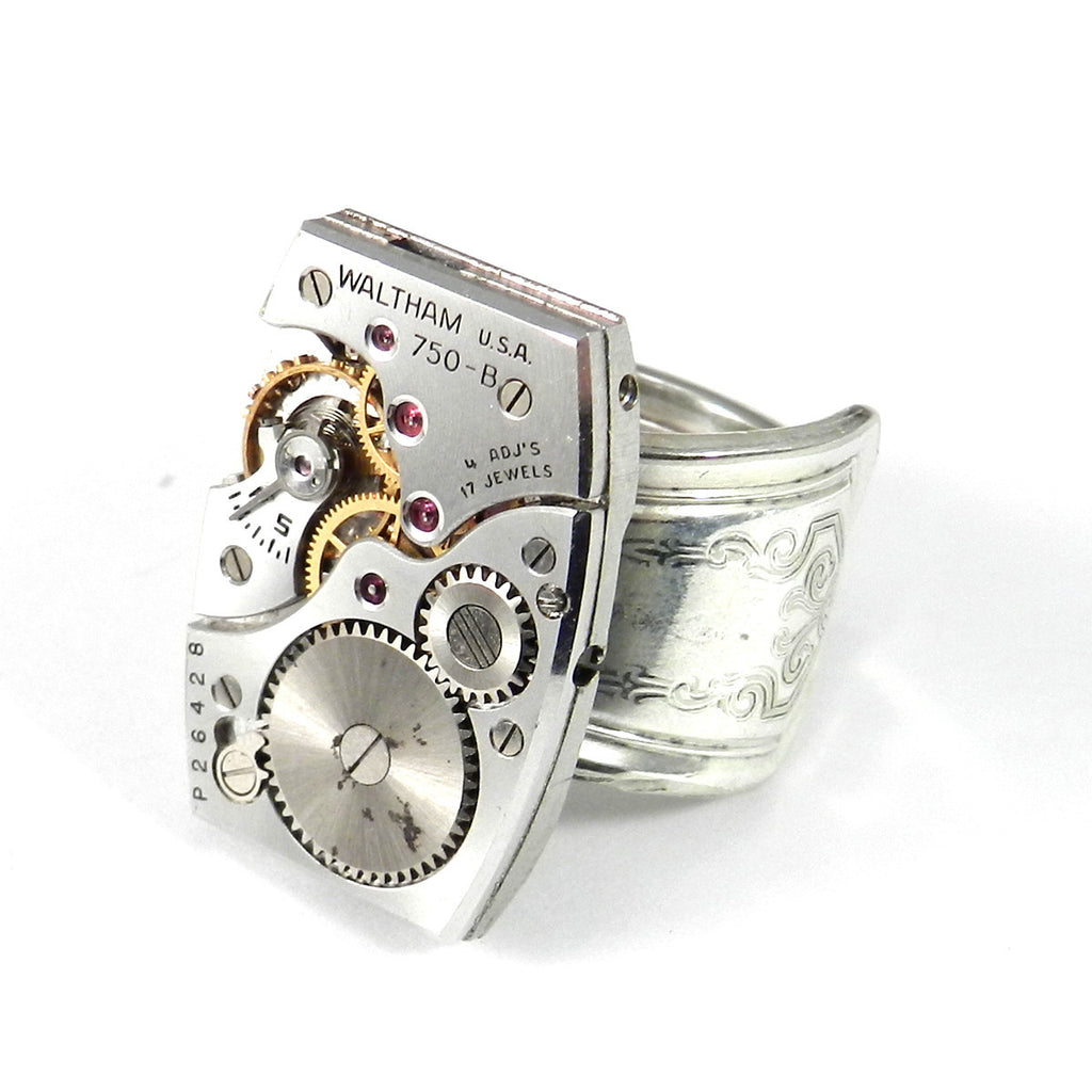 Industrial Ring - Mechanical Watch Spoon Ring - Waltham - Size 6.5 -7