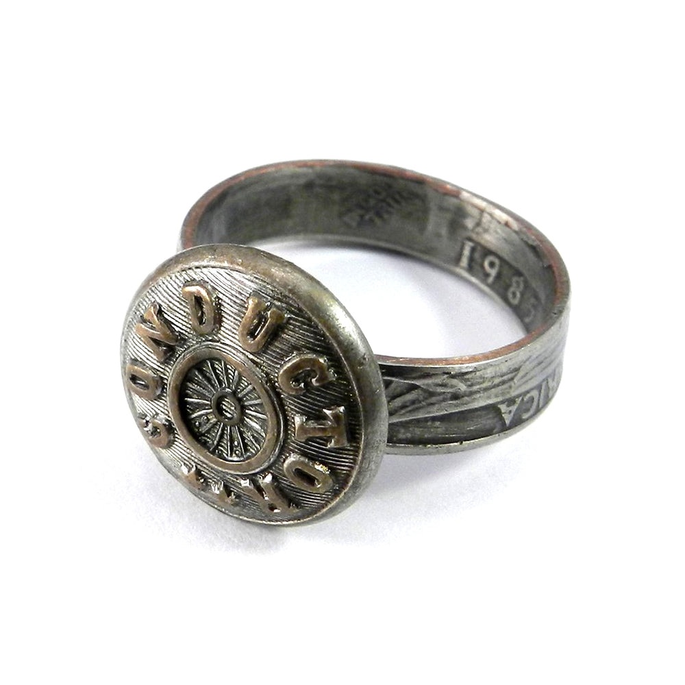 Coin Ring with Railroad Conductor Button - size 9.5