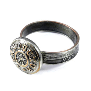 Coin Ring with Railroad Conductor Button - size 12