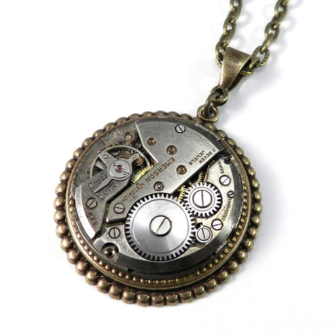 Industrial Necklace - Mechanical Watch Pendant - Brass Art Deco