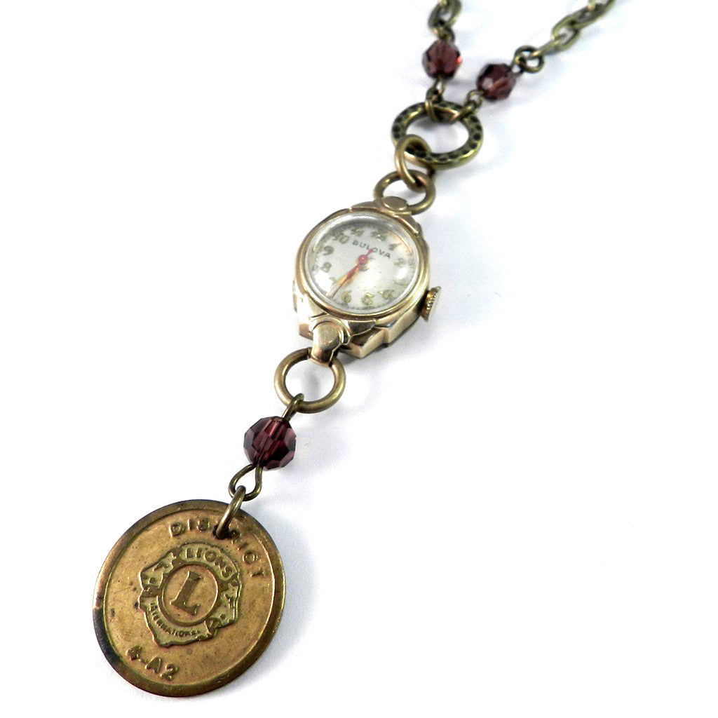 Vintage Keepsake Necklace - Grandmother's Timepiece w/ Lions Club Medal - Burgundy