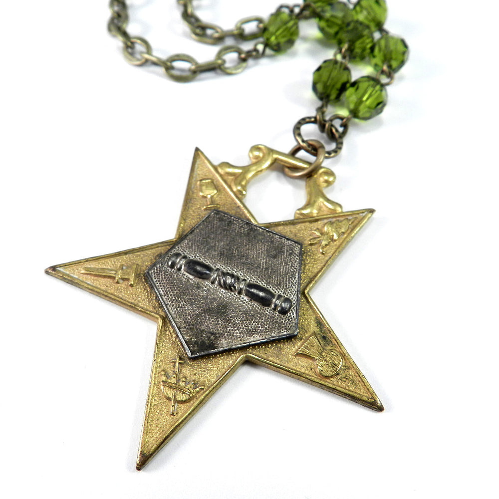 Order of the Eastern Star Vintage Medal Necklace - Olive Crystal