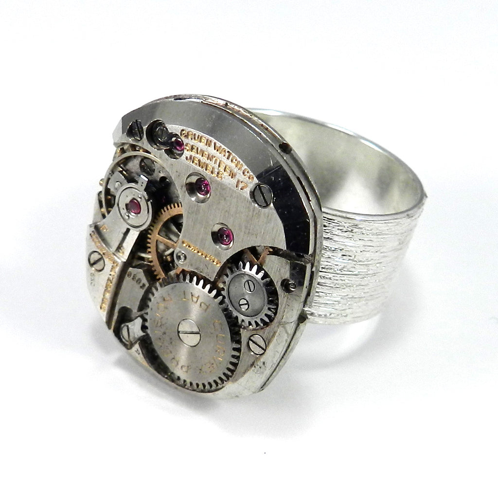 Steampunk Ring - Clockwork on Etched Silver Band