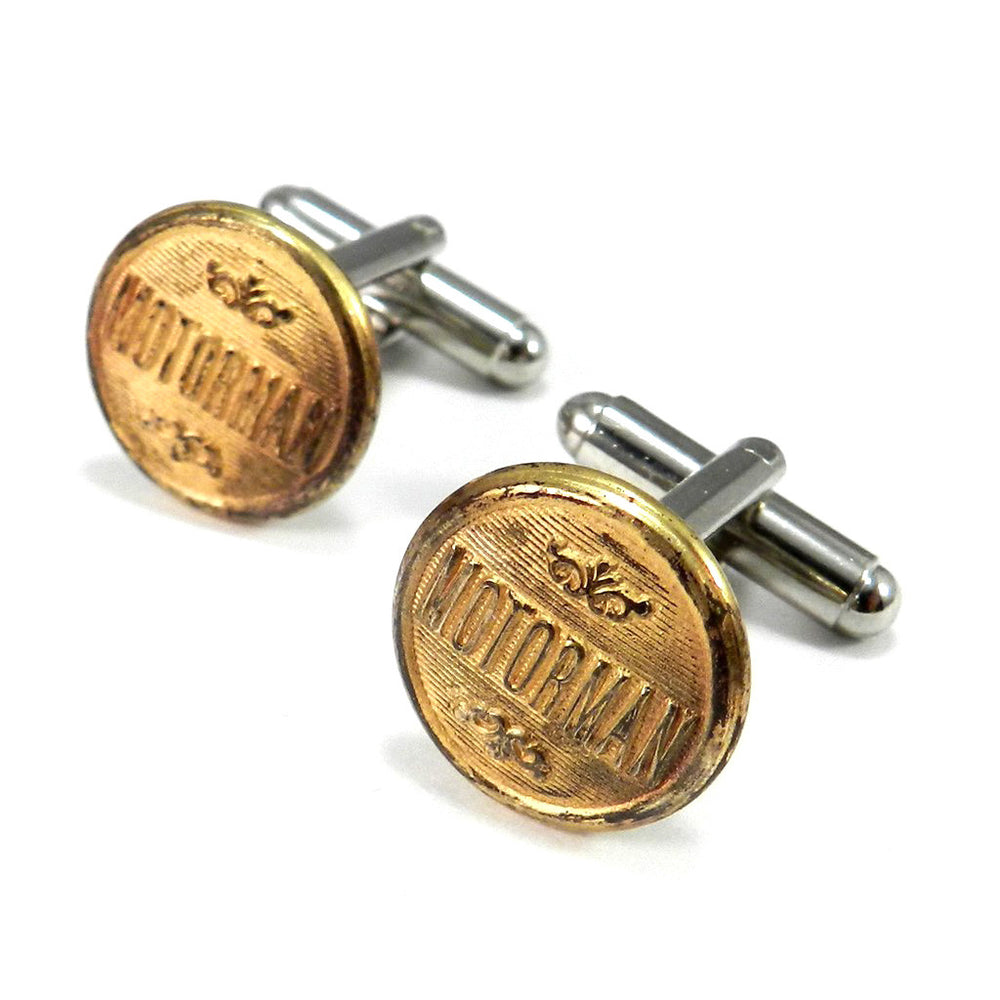 Motorman Vintage Trolley Button Cufflinks - Brass
