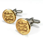 Western Pacific Railroad Vintage Button Cufflinks - Brass