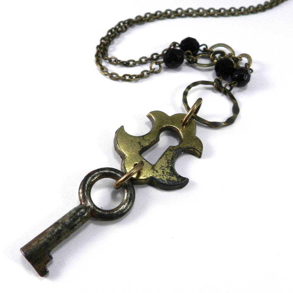 Vintage Keepsake Necklace - Rustic Lock and Key - Black Crystal