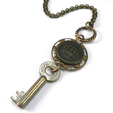 Vintage Keepsake Necklace - Key and Crown