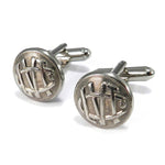 Lehigh Valley Transit Company Vintage Trolley Button Cufflinks - Steel