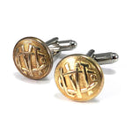 Lehigh Valley Transit Co. Vintage Trolley Button Cufflinks - Brass