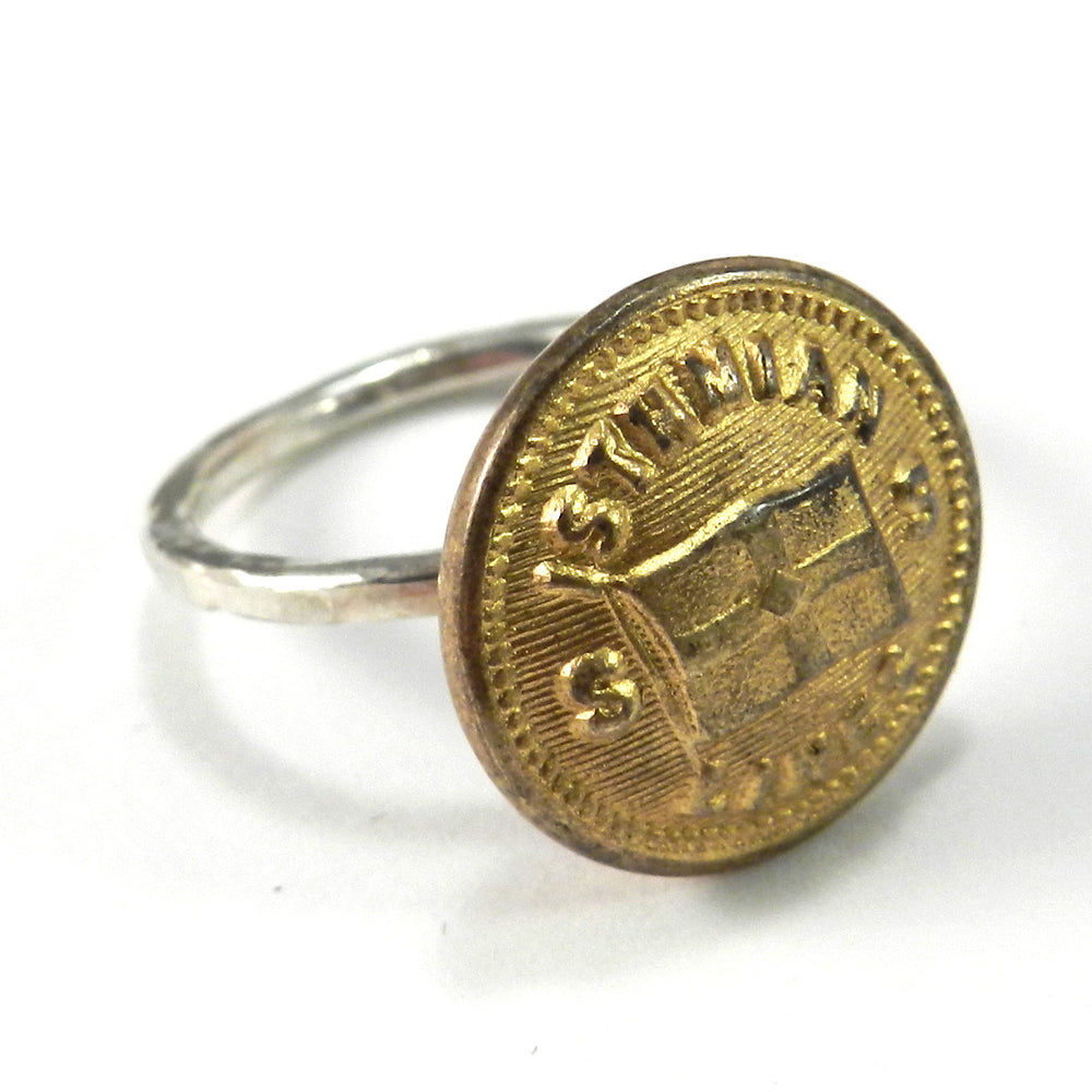 Vintage Ocean Liner Button on Hammered Silver Ring - size 5