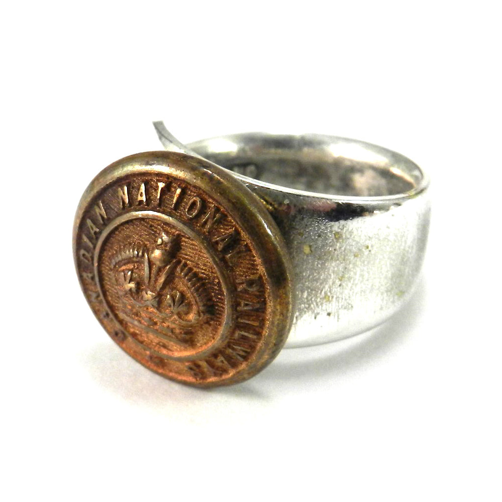 Railroad Button on Vintage Spoon Ring - Canadian National Railways - Size 7