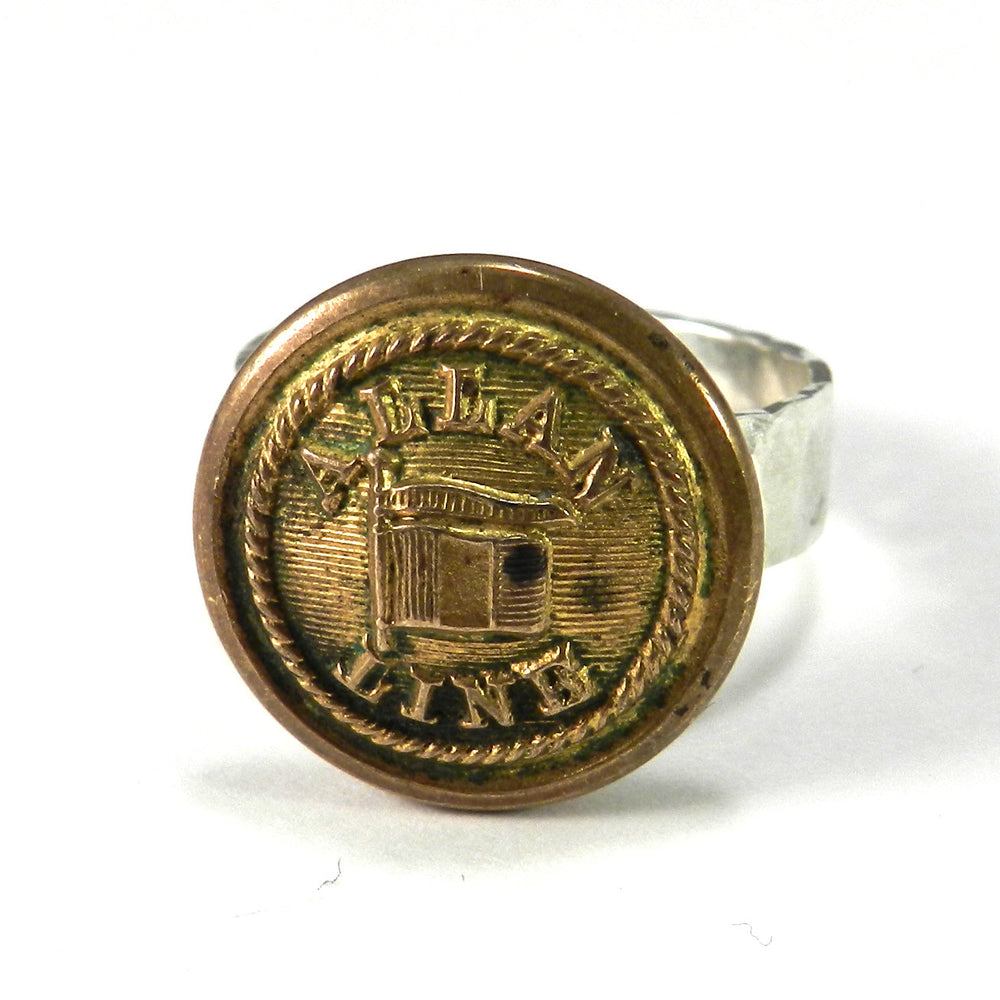 Vintage Ocean Liner Button on Hammered Silver Ring - size 7.5