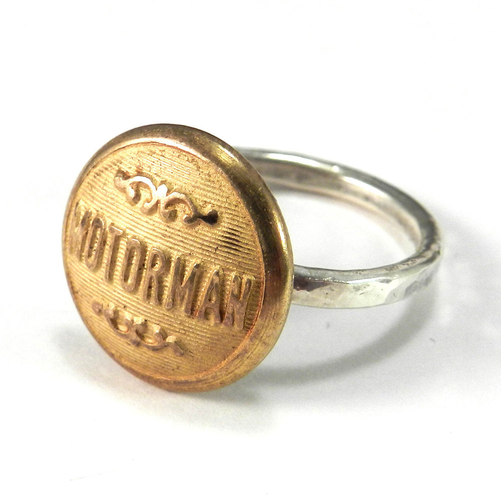 Vintage Trolley Conductor Button on Hammered Sterling Silver Ring - size 7