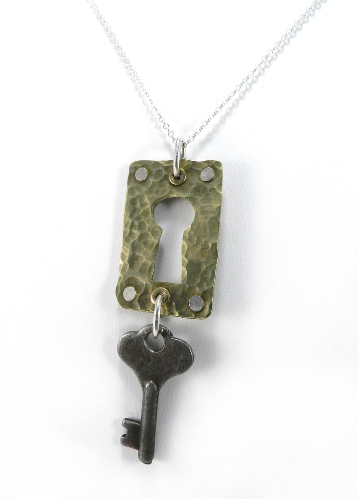 Handmade Hammered Brass Keyhole with Vintage Key