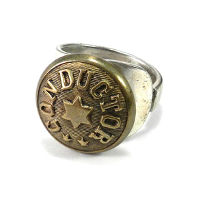 Conductor Button on Vintage Spoon ring - size 13 3/4