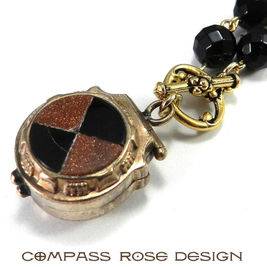 Goldstone & Onyx Locket Watch Fob Necklace - ANTIQUITY Collection