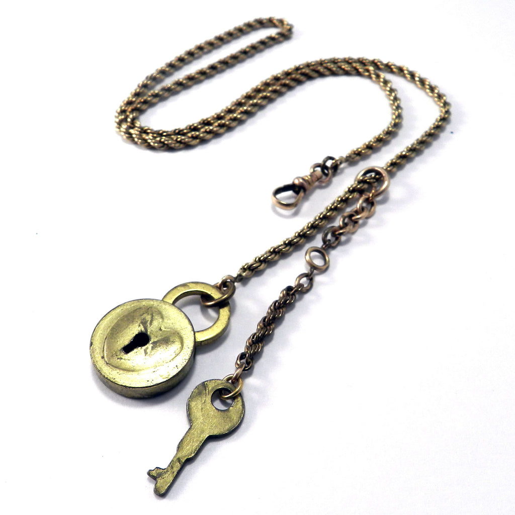 Victorian Sweetheart Lock and Key Wedding Necklace in Gold